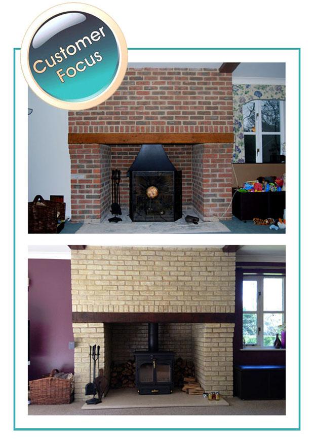 Lightening Brick Fireplace